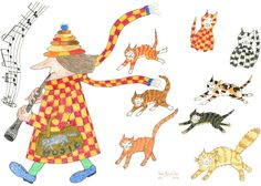 C6 card #MadPiedCatWoman red yellow chequered coat, eight Hamelin cats following, small blank greetings card matt finish by MrSquimpsCatShop on Etsy