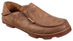 OluKai Moloa Slip-On Shoes for Men - Ray/Toffee - 10.5 M