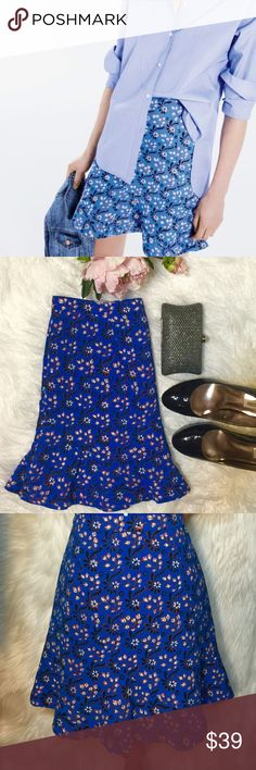 "J.Crew Floral Flared Skirt A look that's ready made for fun summer outfit. This mini skirt is finished with curved seams to create a flattering flared shape. Flat across @ waist: 15.5"", Lenght: 18"". NWOT J. Crew Skirts Mini"
