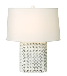 EMISSARY uses interlocking ceramic links to give this neutral lamp its textural appeal. Emissaryusa.com