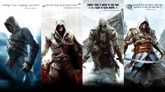 assassin's creed wallpaper | Assassin's Creed: Altair, Ezio, Connor and Edward by okiir