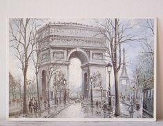Paris Vintage Illustrated postcard, Paris, Arc de Triomphe, Vintage Winter Postcard, Holiday Cards, Retro Greetings Card  Unposted and unwritten. Perfect for Christmas.  The postcard measures approximately 15 x 10,5 cm.  Winter landscape, winter scene.  It is unused. Unposted and unwritten.  Thank you Card, Greeting Card, Love Cards, Post Cards, Picture Postcard, Paper Ephemera, Postcards, Postcard Vintage, Cards, Blank Card.   Lovely postcards, retro postcard, antique post card, old…