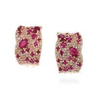 EFFY Boucles d'oreilles à diamants et à rubis naturels en or rose 14 K