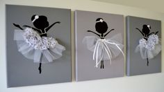 Dancing Ballerinas Wall Art. Set of three dancing ballerinas in white. on Etsy, $42.00
