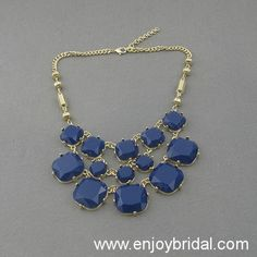 Navy Necklace,Necklace,Holiday Party,Bridesmaid Gift,Beaded Jewelry,Prom Necklace,Wedding Necklace$16.00