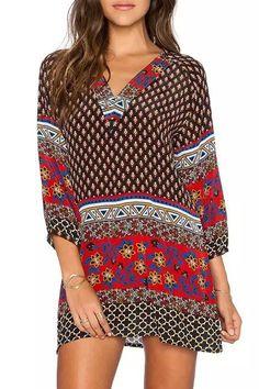 Long Sleeve Printed Straight Dress BROWN: Print Dresses | ZAFUL