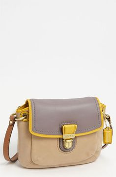 COACH 'Poppy Colorblock' Leather Crossbody Bag - cute, with a touch of yellow too? How is this not already mine? Discount Coach Bags, Coach Bags Outlet, Cheap Coach Bags, Cheap Handbags, Coach Handbags, Coach Purses, Purses And Handbags, Large Crossbody Bags, Leather Crossbody Bag
