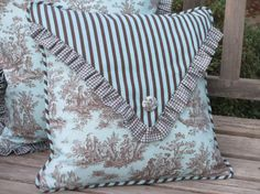 French Country  Pillow Cover, Aqua Toile Pillow Envelope Style w/Button & Ruffles, Turquoise Blue, English Country Decorative Throw Pillow