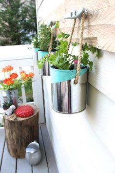 DIY Paint Can Herb Garden - Great Tutorial and Idea!- beach bucket- love the hanger