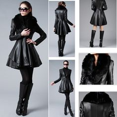 Winter Womens Leather Coats with Fur Collar $79.99