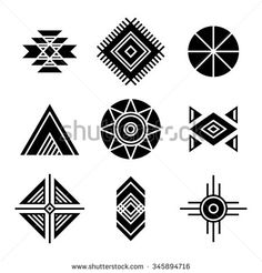Native American Indians Tribal Symbols Set. Geometric shapes icons isolated on white