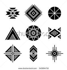Native American Indians Tribal Symbols Set. Geometric shapes icons isolated on white