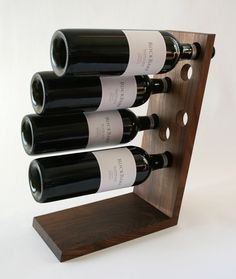 Walnut Wine Rack - Solid Wood