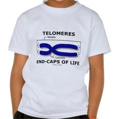 "Telomeres End-Caps Of Life (Biology Humor) T Shirt #telomeres #end-capsoflife #biology #humor #geek #centromere #science #chromosome #wordsandunwords Kid's tee featuring the scientific truism saying: ""Telomeres End-Caps Of Life""."