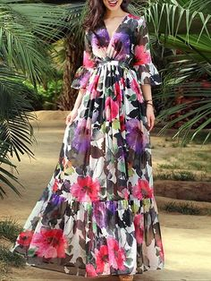 Ericdress offering cheap maxi dresses is worth your visit. Good quality maxi dresses for women on sale here, such as white floral long maxi dresses with sleeves. Maxi skirts are also good. African Dresses For Kids, African Wear Dresses, White Dresses For Women, Latest African Fashion Dresses, Cheap Maxi Dresses, Cheap Dresses Online, Dress Plus Size, Curvy Outfits, Floral Maxi Dress
