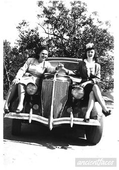 Thelma Stickland & Bonnie Ward on top of their 1940s (Packard?) automobile in Roswell Georgia. http://www.ancientfaces.com/photo/thelma-strickland-bonnie-ward/1301464