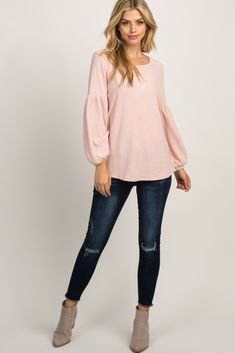 Light Pink Solid Soft Knit Puff Sleeve Top