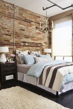 I love exposed brick walls! Exposed Brick Bedroom // Photo Michael Graydon // House & Home Condos 2009 issue Exposed Brick Bedroom, Brick Wall Bedroom, Exposed Ceilings, High Ceilings, Loft Style Bedroom, Home Bedroom, Master Bedroom, Dream Bedroom, Modern Bedroom