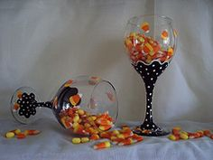 painted halloween wine glass - Google Search