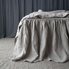LINEN BED SKIRT dust ruffle. Linen bedskirt. Made by mooshop.