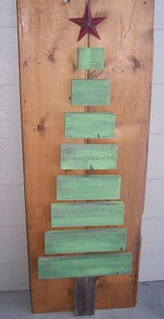 Wooden Christmas Tree.  Could add decorations, glitter, lights, or words or leave plain.