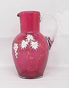 Online Antique and Collectibles Mall - over a half-million vintage antiques and collectible items for sale on-line. Red Glass, Glass Art, Cranberry Glass, Glass Pitchers, Crackle Glass, Ceramic Pottery, Vintage Antiques, Vases, Porcelain