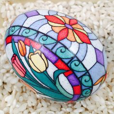 Stained glass tulips on a chicken egg by doreseggs on Etsy