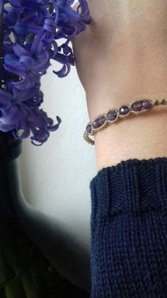 Check out this item in my Etsy shop https://www.etsy.com/listing/581415080/amethyst-macrame-bracelet-summer-nights