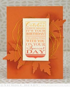 October Ombre Birthday Card by Nichole Heady for Papertrey Ink (September 2014)