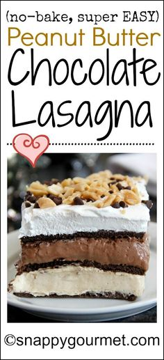 Easy No-Bake Peanut Butter Chocolate Lasagna recipe - only 9 ingredients! Perfect holiday or potluck dessert that will wow guests! snappygourmet.com