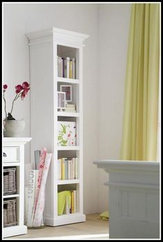 Most popular tags for this image include: narrow bookshelf, white bookcases,  tall bookcase