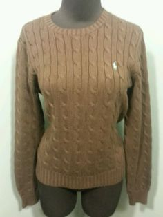 Ralph Lauren Chocolate Brown Cotton Cable Knit Crewneck Dress Sweater M $27 Free Shipping!