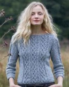 Rowan Cabled 3/4 Sleeve Sweater