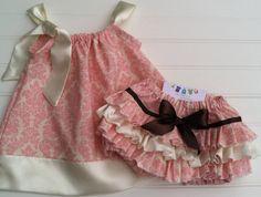 Ivory and Pink Damask Pillowcase Dress by BabyThreadsByLiz on Etsy, $28.00