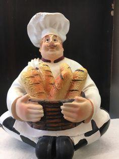 FAT CHEF FIGURINE Bread Italian French Baguette Kitchen Decor