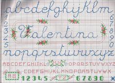 Risultati immagini per alfabeto punto croce corsivo nome baby