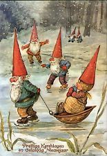 Gnome lady on a sled Vintage Christmas Cards, Vintage Cards, Vintage Postcards, Woodland Creatures, Magical Creatures, David The Gnome, Kobold, Fairytale Art, Christmas Gnome