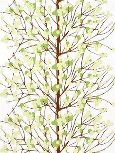 Marimekko fabric Lumimarja 065175.160  Green berries against a white background