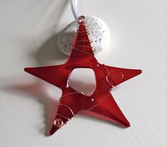 Candy Apple Red Glass Star Christmas by conwaysstainedglass