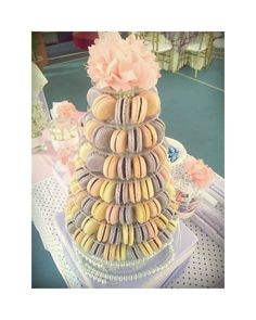 Pink & Purple macaron tower. Wedding dessert table.