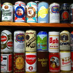 Old cans at Harpoon Brewery