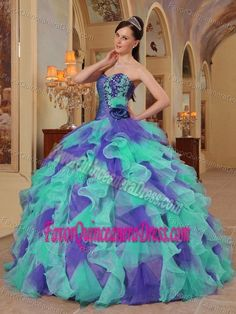 Colorful Ball Gown Sweetheart Organza Quinceanera Dresses with Ruffles
