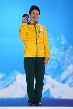 2014 Winter Olympics Day 8 Lydia Lassila Bronze medalist Lydia Lassila of Australia celebrates on the podium during the medal ceremony for the Freestyle Skiing Ladies' Aerials on day 8 of the Sochi 2014 Winter Olympics at Medals Plaza on February 15, 2014 in Sochi, Russia.