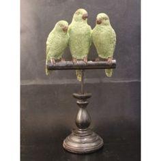 Perched Green Parrots Sculpture