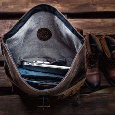 Mochila de cuero de los hombres por mochila Kruk garaje