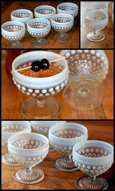 Vintage glassware  Vintage cocktail stemware  Set six