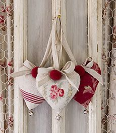 hearts made with vintage fabric