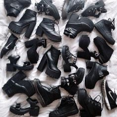 All Black Everything. Grunge leather boots.