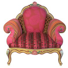 I really want!!!  mckenzie childs Mackenzie Childs Furniture, Funky Furniture, Unique Furniture, Painted Furniture, Princess Chair, Pink Princess, Chair And Ottoman, Big Chair, Upholstered Chairs