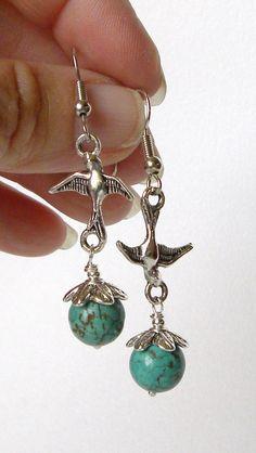 Turquoise and Swallows Handmade Beaded by bdzzledbeadedjewelry, $14.00